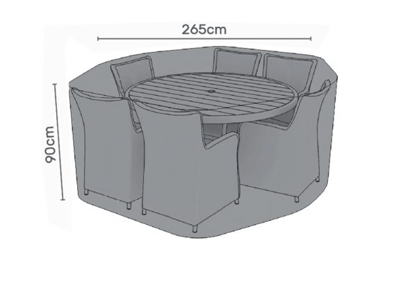 Premium Cover for 6 seater round dining set grey