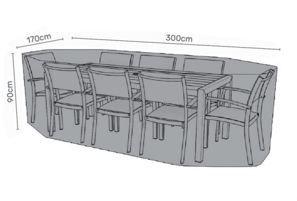 Premium cover for 8 seater dining set grey